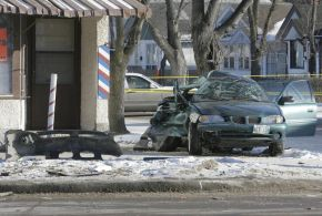 (The wreck that was Violet Gooding's car on Dec. 3, 2008/Marcel Cretain/Winnipeg Sun)